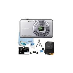 Sony Cyber-shot DSC-WX70 DSCWX70 WX70 16.2 MP Digital Camera with 5x Optical Zoom and 3.0-inch LCD (Silver) with Sony 16GB AND 4GB Card, Sony Case, Spare Battery, Card Reader, Mini Tripod, LCD Screen Protectors, Lens Cleaner + More