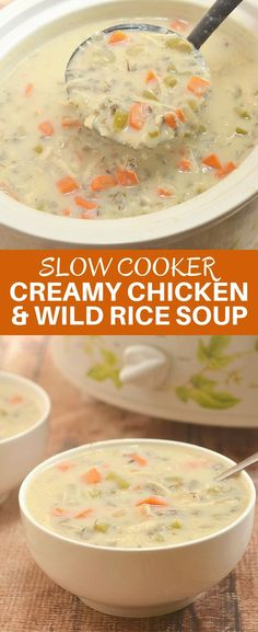 Slow Cooker Creamy Chicken Wild Rice Soup made easily and conveniently in the crockpot. Loaded with chicken, wild rice, vegetables and rich, creamy broth, it's comfort food at its best! via @lalainespins