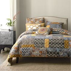 Bantry Quilt / Sham - Also nice grey and yellow mix, more static design however