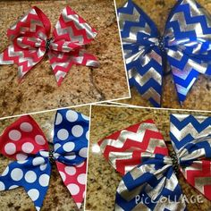 4th of July bows!  Savvy's Bowtique bows are high quality with low prices!   Buy at Savvyscheerbowtique on Etsy!