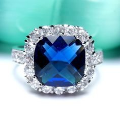 Genuine 3.1 Carat Blue Sapphire Sterling Silver Ring... | Tophatter
