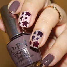 Lovely Autumn manicure by @SimplyJary using our Autumn Leaf Nail Stencils found at snailvinyls.com