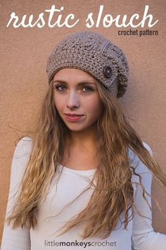 Rustic Slouch Crochet Hat Pattern - a Free Slouchy Hat Crochet Pattern by Little Monkeys Crochet! Make it with Lion's Pride Woolspun (pictured in taupe) and sizes N (9mm) and I (5.5mm) crochet hooks.