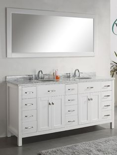 "72"" Caroline Parkway Double Sink Vanity - White"