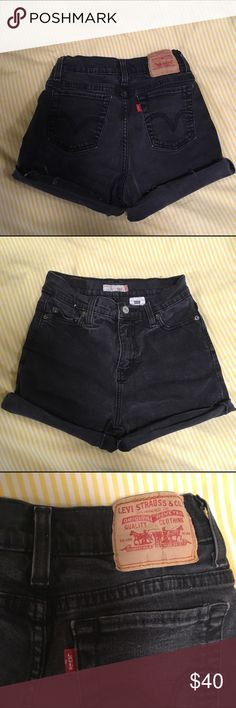 Levi's High-waisted Shorts Vintage Levi's washed black high-waisted shorts. Great condition. They're pretty stretchy, so they could prob fit up to a 26/27. Urban Outfitters Shorts Jean Shorts