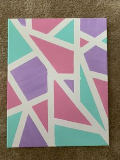 Lilac, Pink, and Teal Canvas Painting Kids Canvas Art, Small Canvas Paintings, Small Canvas Art, Diy Canvas, Canvas Painting Tutorials, Easy Canvas Painting, Painting With Tape, Kid Painting, Canvas Painting Designs