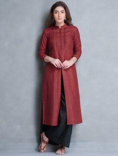 Red Mandarin Collar Thread Embroidered Matka Silk Kurta