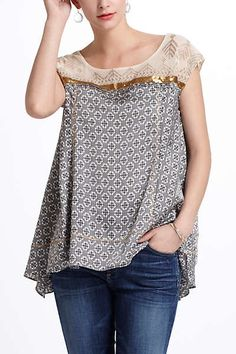 Anthropologie top... Nice way to use a little lace top and repurpose the rest for other projects.