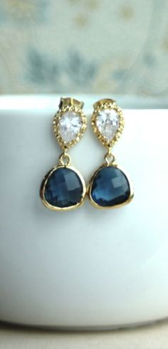 Blue Sapphire Glass Drops Earrings, Something Blue. Bridesmaid Gift. Blue & Gold Wedding.