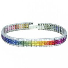 Multicolor+Rainbow+Sapphire+&+Diamond+Double+Row+Invisible+Set+Tennis+Bracelet+18K+WG+(27ct+tw)