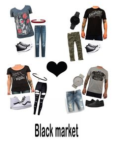 """""""Black Market"""" by moodswingsonthenet ❤ liked on Polyvore featuring Converse, Hollister Co., White House Black Market, Humble Chic, Vans, WithChic, Carbon & Hyde, CLUSE and Braun"""