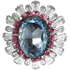 This amazing keystone brooch is simply gorgeous and features the signature rhinestones used exclusively by Schreiner of New York. What makes this