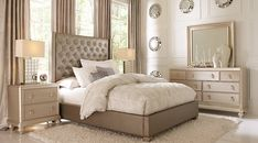 picture of Sofia Vergara Paris Gray 5 Pc Queen Bedroom from  Furniture