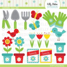 Gardening - Aqua and Red - Clip Art Set Digital Elements for Cards, Stationery and Paper Crafts and Products