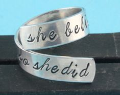 SALE - She Believed She Could, So She Did Twist Ring - Adjustable Wrap Ring - Hand Stamped Ring
