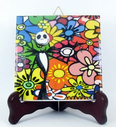 Jack Skellington with flowers from The Nightmare before Christmas handmade ceramic tile tim burton collectible gift idea mod. 101