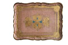 """Italian Florentine tray with pink and aqua accents over gold gilding. Marked made in Italy. Dimensions: 16""""L x 12.5""""W x 1""""H Condition: Excellent"""