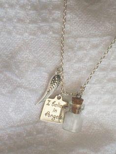 Angel Necklace, Guardian Angel, Angel Wings, Angel Feathers in a bottle (no…