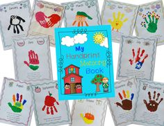 Too cute Handprint Memory Book for Preschool, Pre-K, Kindergarten, and First grade! Kiddos have a different themed handprint for each month with a poem that goes along with it. Perfect end of the year gift for parents or even for your own kiddos!