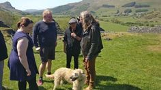 11 May 2017, Plant with his dog and former AC/DC singer Brian Johnson  (in Wales).