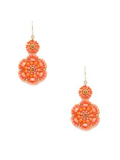 Miguel Ases Pink Shell Double Drop Earrings