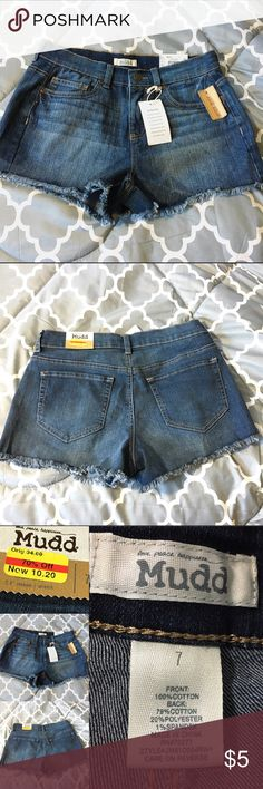MUDD dark washed high waisted shorts (NWT) ♡Brand:MUDD ♡Size: 7(junior) ♡Material: 79% cotton, 20% polyester,1% spandex  ♡Condition: Brand new never worn. Still has tags. Darker wash high waisted shorts.  Any other questions please ask. ♡Ashley Mudd Shorts Jean Shorts