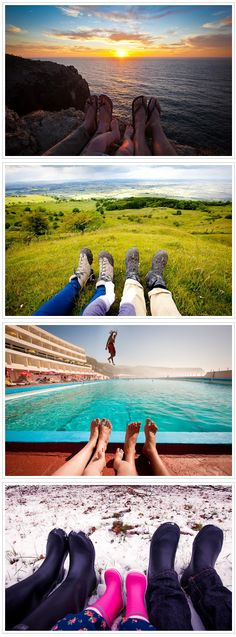 """Fun family or friends vacation picture!.... Lol, tried to do this kinda pic with the boys, and the one where u wrote ur name in the same with ur feet in pic..... Well Isaac said to me """"who takes, & wants pictures of their feet""""... LMFAO what a kid... He wouldn't take the pic!!!!"""