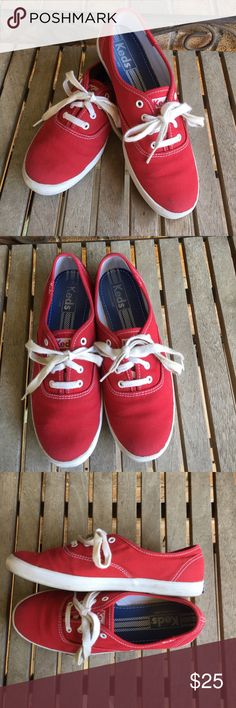 Keds Classic Red Sneakers Keds Classic Red Sneakers. Great shape! Have been worn a few times and shows a little wear on rubber part. See all pics and ask questions before purchasing. Great year round Sneaker. Keds Shoes Sneakers