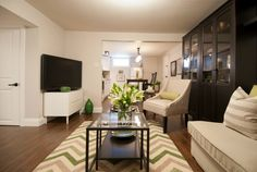 Basement apartment living room, Income Property HGTV