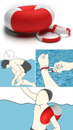 This nifty invention automatically inflates when it is submerged in water for a length of time.