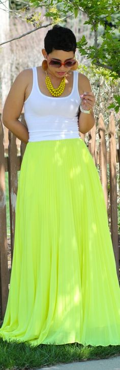 Neon Pleated Chiffon Skirt / Fashion by Mimi G