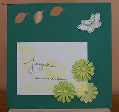 Carte anniversaire thème printanier, coloris vert et blanc