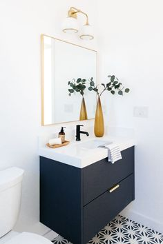 Unlike Ikea kitchen cabinets and many of their bath and storage cabinets, Godmorgon vanities come with fronts. You'll simply install our Semihandmade fronts as you would Ikea's. You can start by choosing the size that best suits your needs. Ikea Kitchen Cabinets, Storage Cabinets, Black Cabinets Bathroom, Ikea Kitchens, Bath Cabinets, White Kitchens, Bad Inspiration, Bathroom Inspiration, Bathroom Ideas