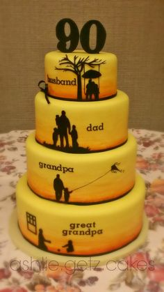 Birthday cake - This was a specialty cake I made specific to my grandpa's life. Each silhouette described each phase of his life perfectly. The design came from complete inspiration. So blessed i (Cool Cakes For Men) Birthday Cakes For Men, 75th Birthday Parties, Birthday Cake With Photo, 80th Birthday Cake For Men, Grandpa Birthday, 75 Birthday Party Ideas, 80th Birthday Cake For Grandma, Mens 40th Birthday Cake, Ideas Party