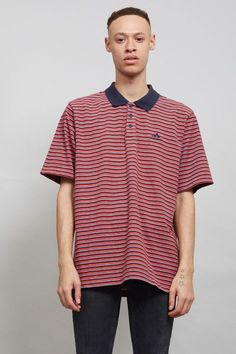 Stripped Adidas 90's burgundy vintage polo t-shirt