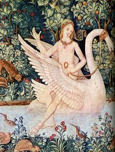 """Flemish medieval tapestry"" - don't know the source yet, will edit this when I find it. For all your naked swan riding needs."