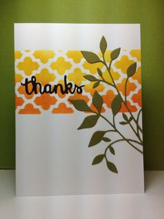 Fresh Foliage die: Memory Box, stencils, by beesmom - Cards and Paper Crafts at Splitcoaststampers Thank U Cards, Z Cards, Paper Cards, Hexagon Cards, Boxed Christmas Cards, Making Greeting Cards, Beautiful Handmade Cards, Card Making Techniques, Fall Cards
