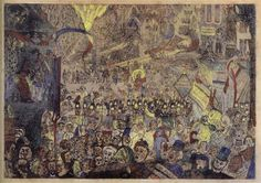 [ E ] James Ensor - The Entry of Christ into Brussels (1888) - Colored Etching   by Cea.