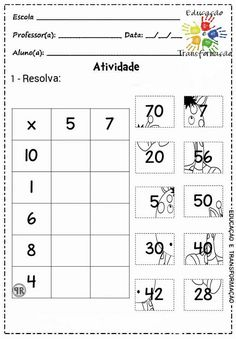 5,7 Multiplication Activities, Math Worksheets, Math Activities, 2nd Grade Math, Math Class, Math Sheets, Montessori Math, Primary Maths, Simple Math