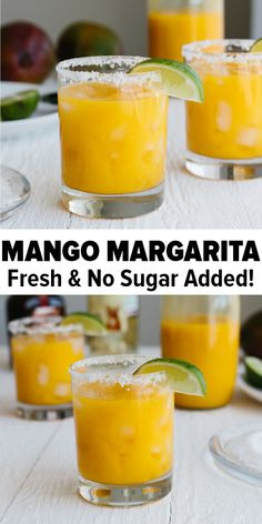 Mango margarita on the rocks uses all fresh ingredients and has no added sugar. It's the perfect fruity cocktail recipe. And a great Cinco de Mayo recipe! #mangomargarita #mangomargaritarecipe #cocktailrecipes #cincodemayorecipes