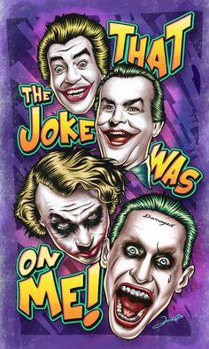 All Joker, Jared Leto, Heath Ledger, Jack Nicholson & Cesar Romero by Renato Cunha All Jokers, Jokers Wild, Dc Comics, Joker Y Harley Quinn, Joker Art, Joker Batman, Joker Heath, Joker Wallpapers, Joker Quotes