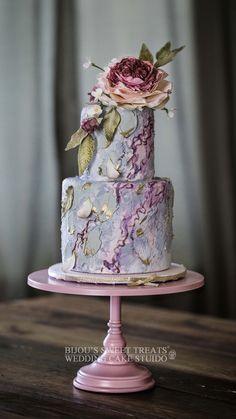 buttercream wedding cake with sugar floral by Bijou's Sweet Treats wedding cake studio. Small Wedding Cakes, Floral Wedding Cakes, Amazing Wedding Cakes, Floral Cake, 3 Tier Wedding Cakes, Purple Wedding, Gold Wedding, Wedding Flowers, Modern Cakes