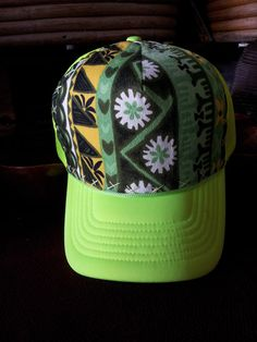 Neon Yellow Trucker Hat with Hand Sewn Vintage by AumoanaDesigns, $25.00