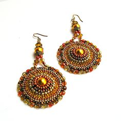 Orange Boho Styled Earrings - Beaded Round Hoops in Tangerine, Bronze, Topaz & Gold