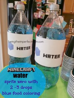 Minecraft party food with free printables http://www.beingtheimperfectmom.com/minecraft-birthday-party/ #Minecraft #printables #freeprintables