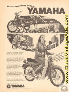 1966 vintage ad showing Yamaha Newport 50 and Campus 60 prices and pictures