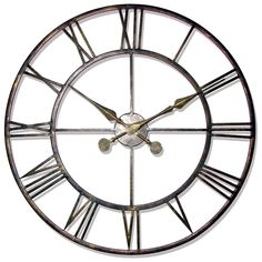 Decorative Clocks For Walls huge metal iron wall clock distressed / shabby chic wall decor
