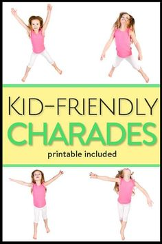 Charades for kids and laughs for the entire family (with printable game cards) - an easy, fun game to pass the time with your kids family game night Charades For Kids, Charades Game, Drama Activities, Indoor Activities, Activities For Kids, Kid Activites, Primary Activities, Classroom Activities, Exercises