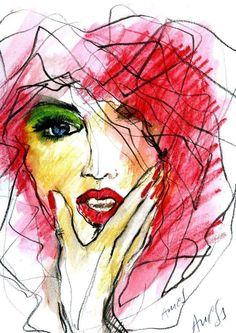 Fashion illustrations by Agnieszka Sukiennik Fashion Sketches, Fashion Illustrations, Face Art, Mixed Media Art, Sculpting, Art Photography, Illustration Art, Artsy, Graphic Design
