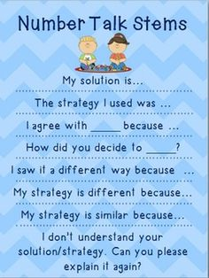 Number Talks Sentence Stems / Frame Poster ~Speaking in math is necessary towards making progress in solving math processes. Math Classroom, Kindergarten Math, Teaching Math, Number Talks Kindergarten, Classroom Ideas, Fun Math, Math Activities, Math Games, Math Discourse